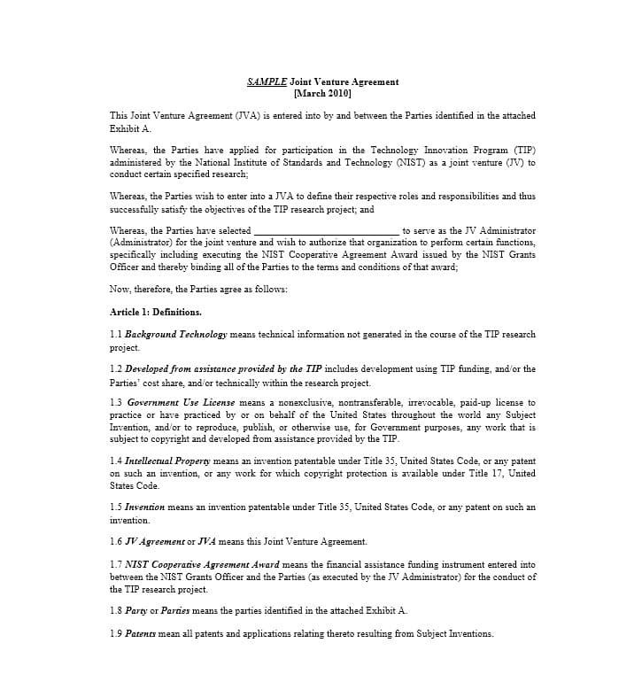 Simple Joint Venture Agreement Templates Pdf Doc