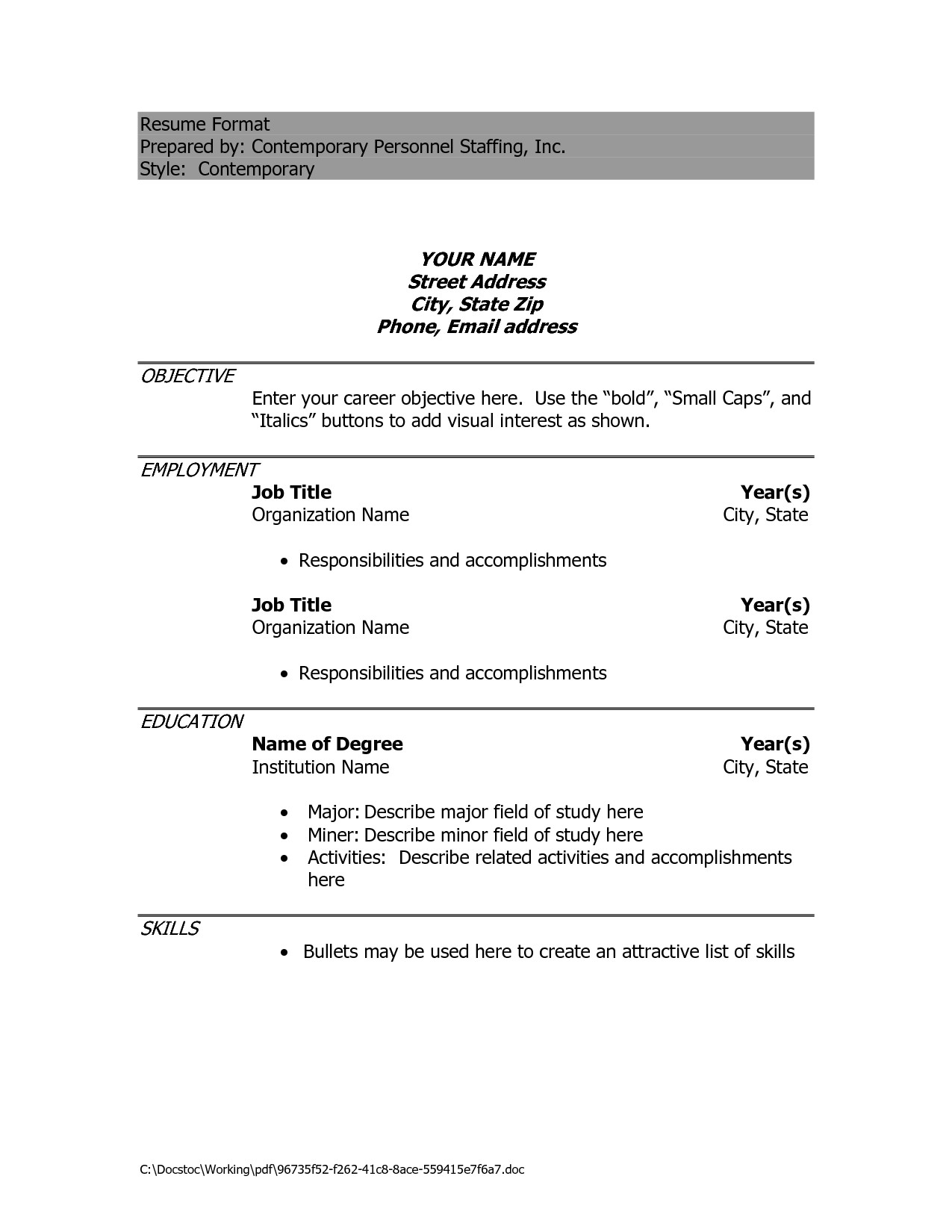 Simple Resume Format Doc Free Excel Templates