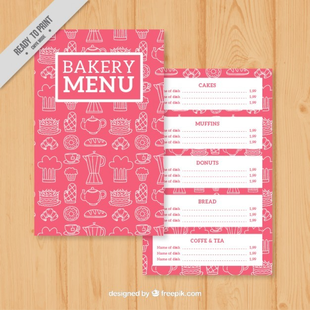 Sketches Bakery Menu Template Vector Free Download