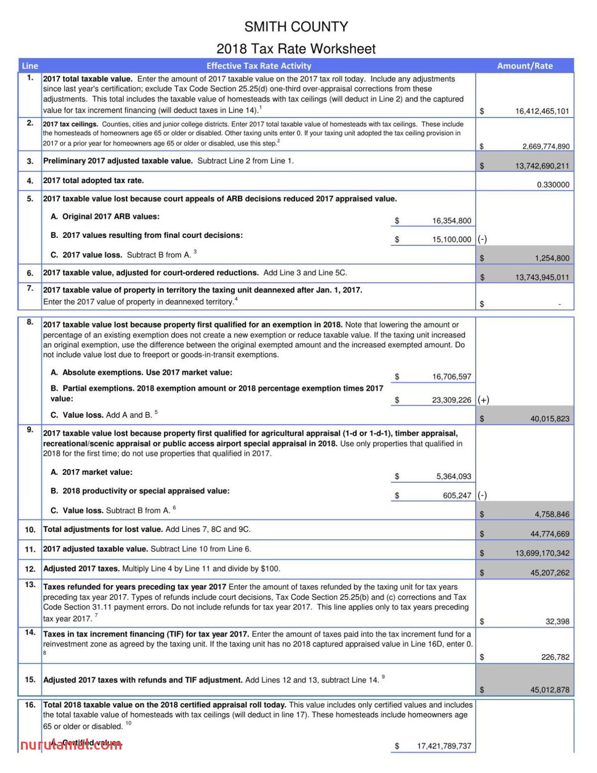 Smith County Scad Tax Worksheet July 30 2018