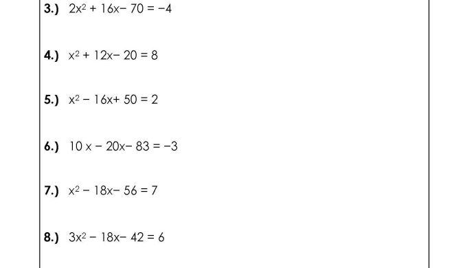 Solve Quadratic Equations by Peting the Square Worksheets