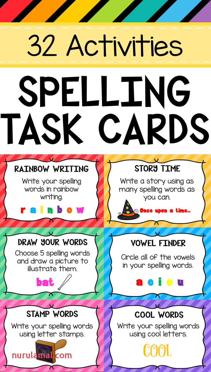 Spelling Task Cards Any List