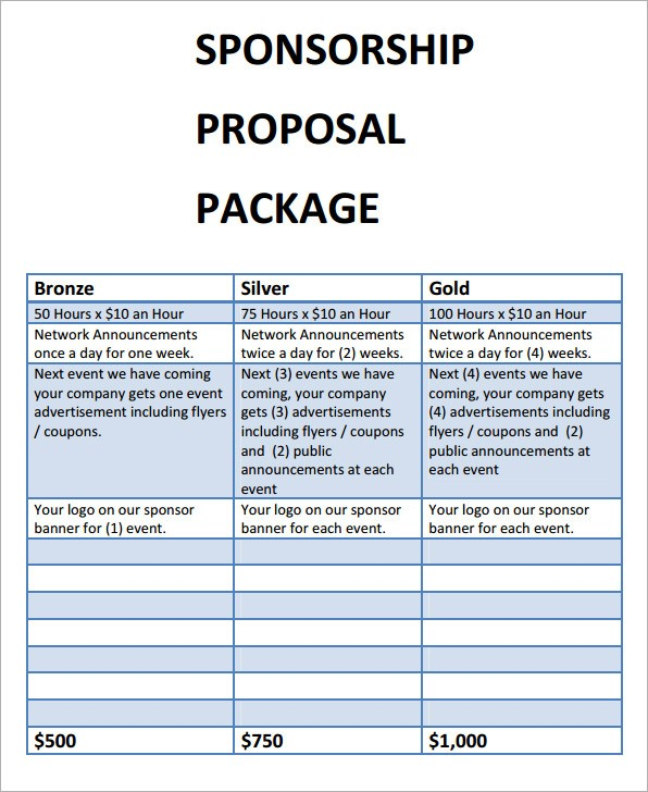 Sponsorship Proposal Template Download Free Documents