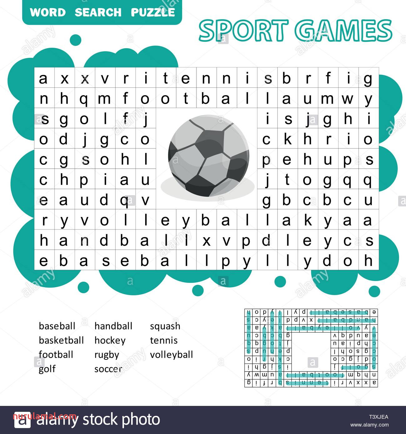 sport games themed word search puzzle for kids answer included fun education game for kids preschool worksheet activity vector illustration T3XJEA