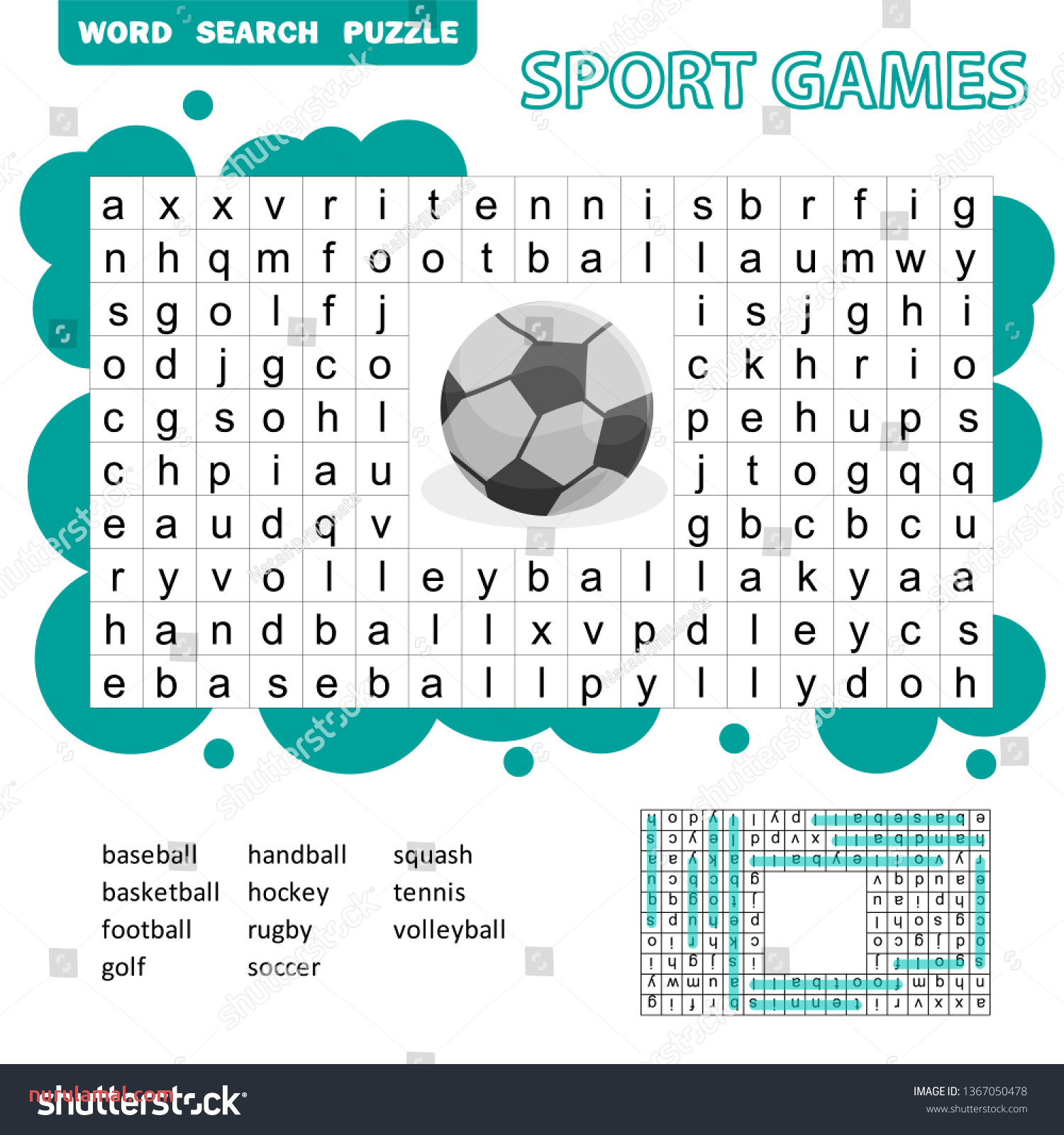 Sport Games themed Word Search Puzzle Stock Vector Royalty