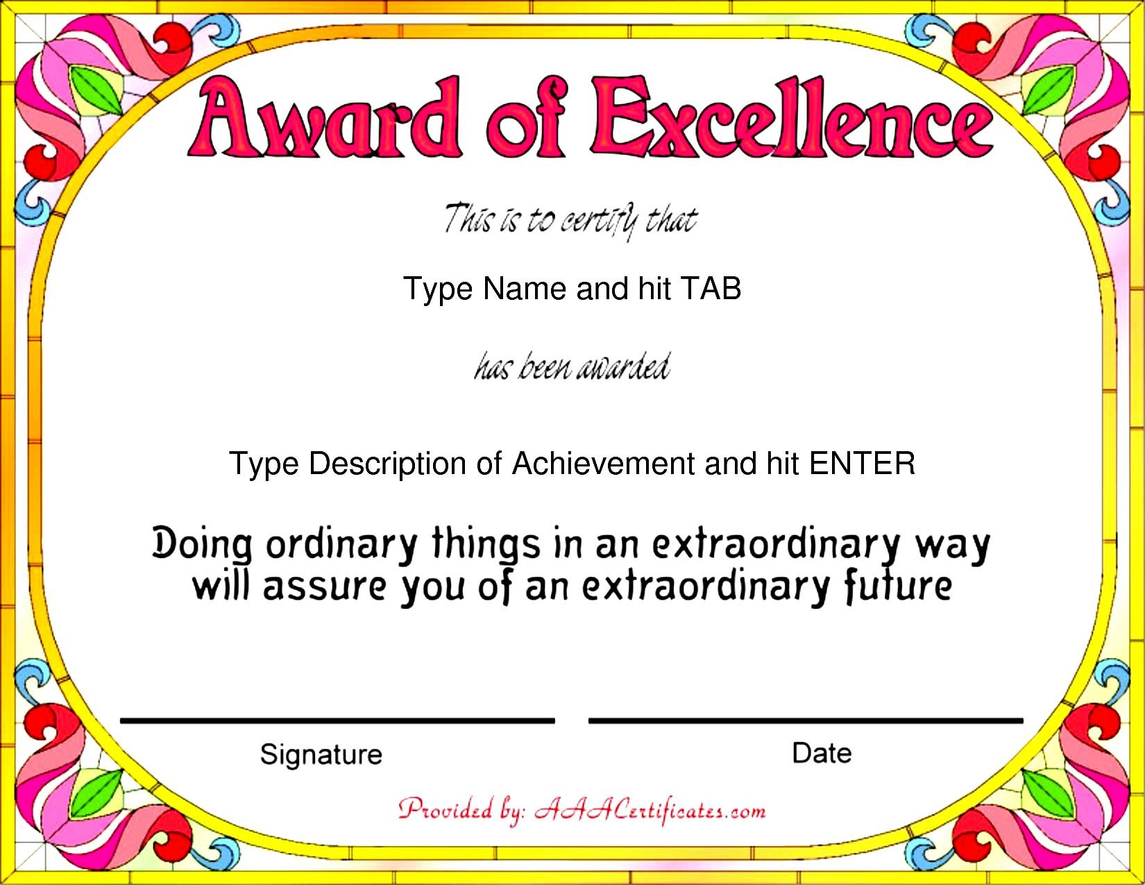 Stunning Certificate And Award Template Word Examples