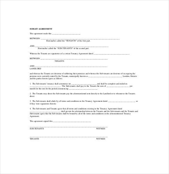 Sublease Agreement Templates Word Pdf Pages Free