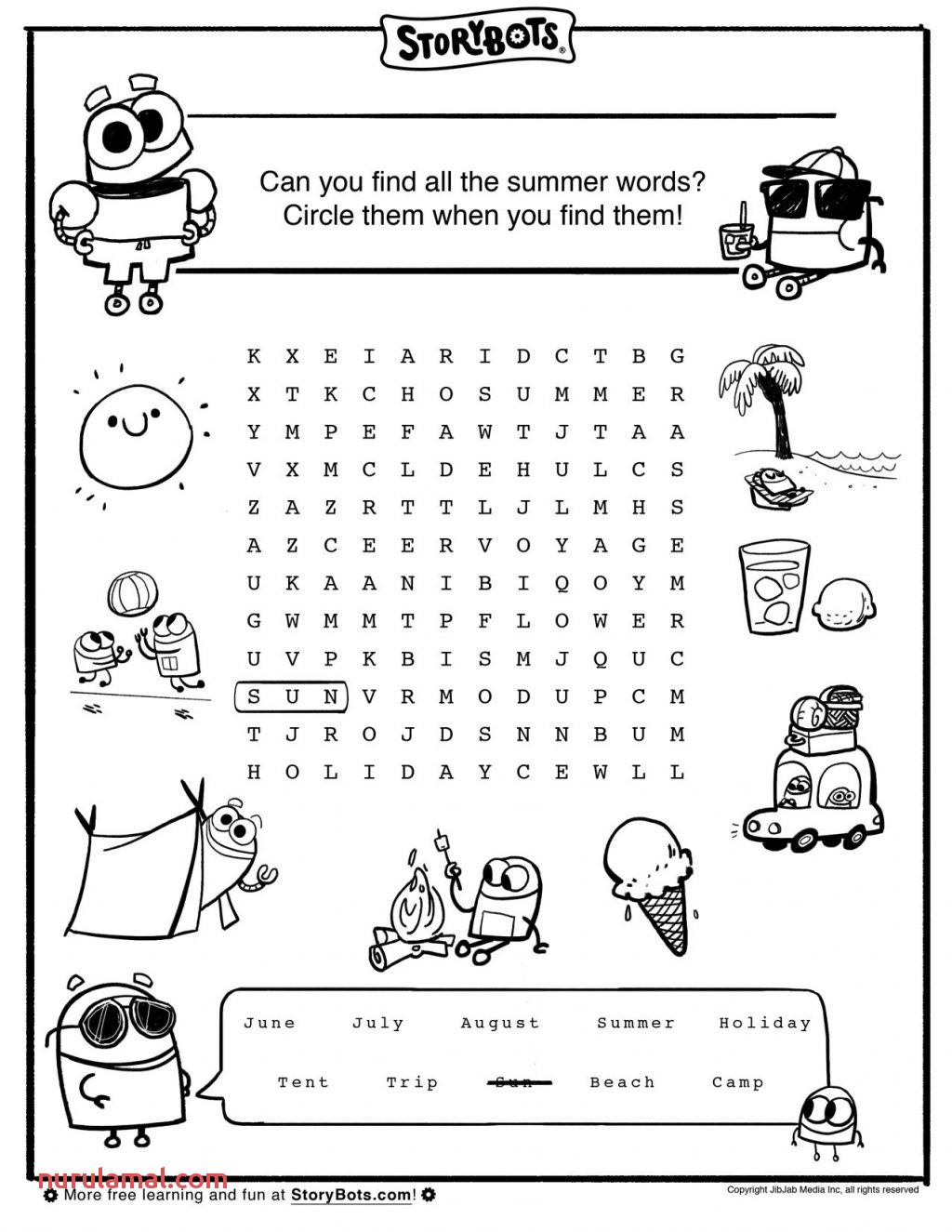 Summer Activity Sheets for Kids Word Search Words