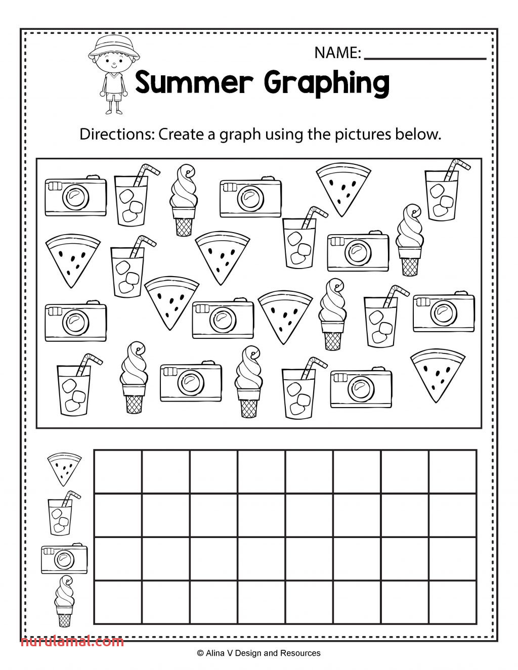 Summer Graphing Math Worksheets and Activities for Ids