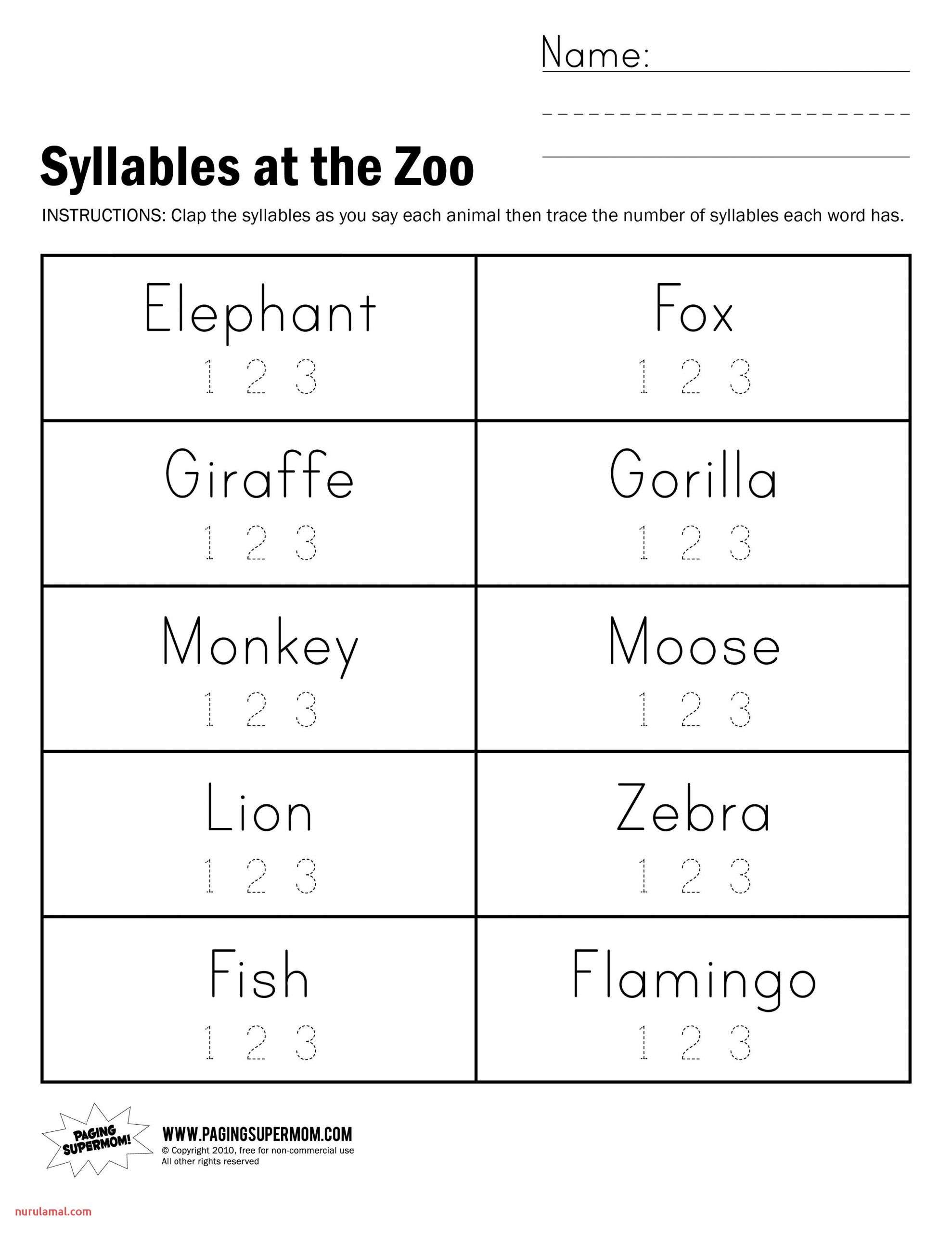 Syllable Worksheets for Kindergarten & Syllable Count Clap