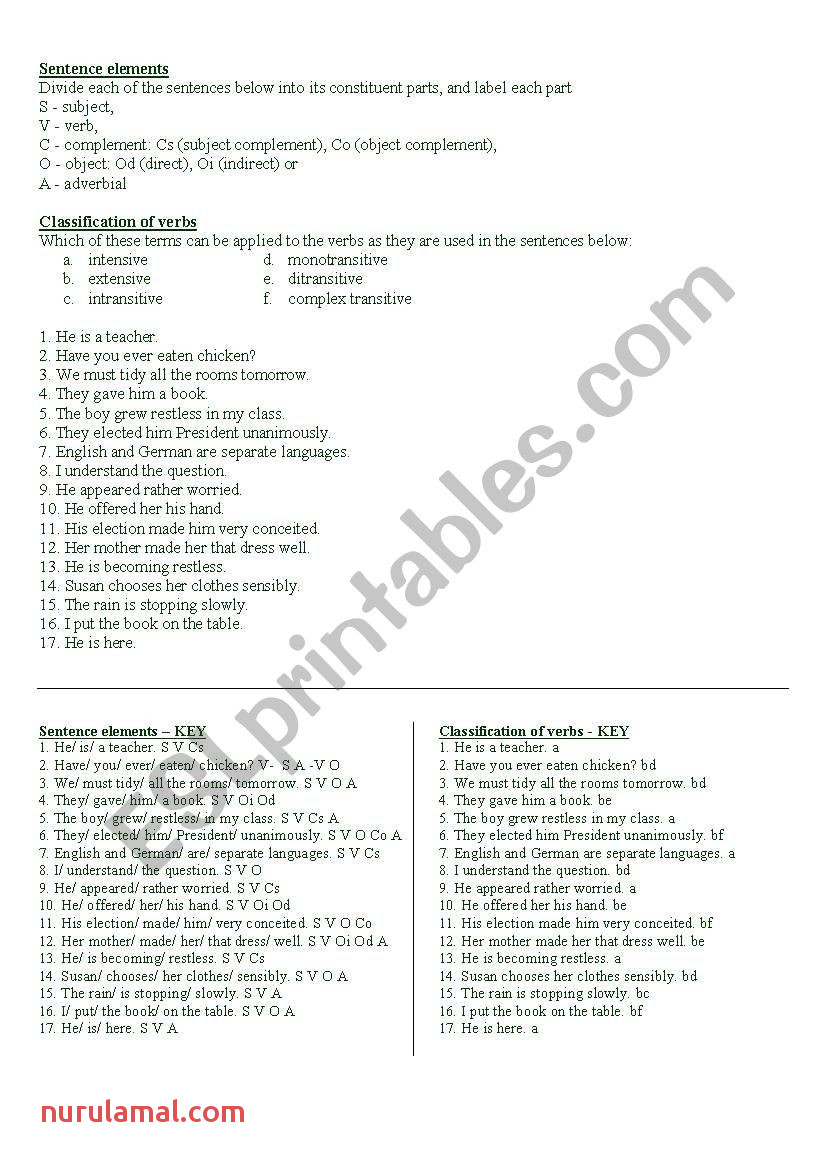 Syntax and Morphology Esl Worksheet by Mirnam