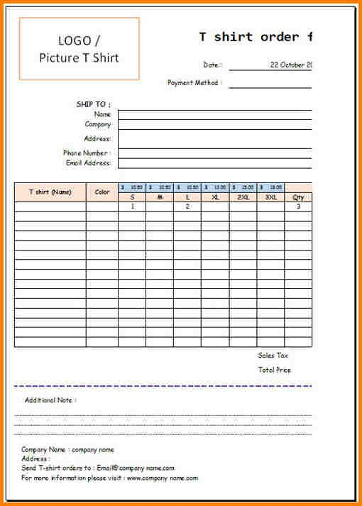 T Shirt Order Form Template Excel Invoice Example