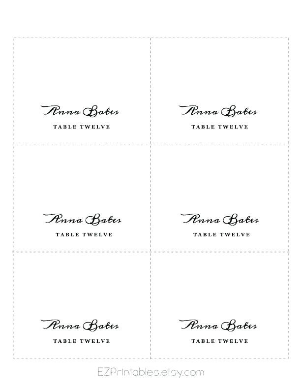 Table Name Card Template Place Cards Download By Free