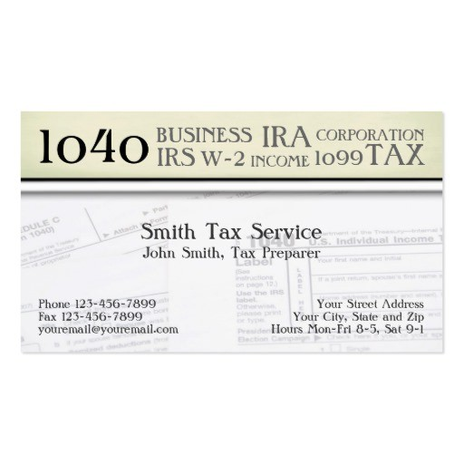 Tax Preparer Accountant Business Card Zazzle