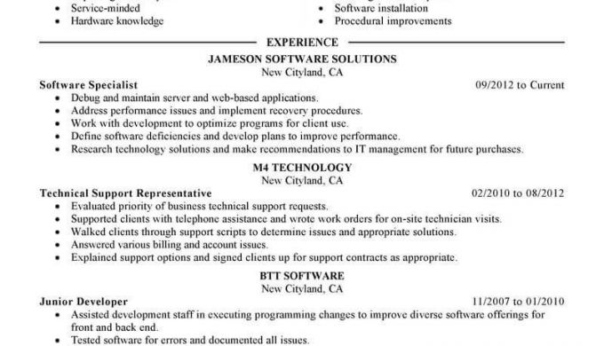 Technical Support Specialist Resume Technical Support