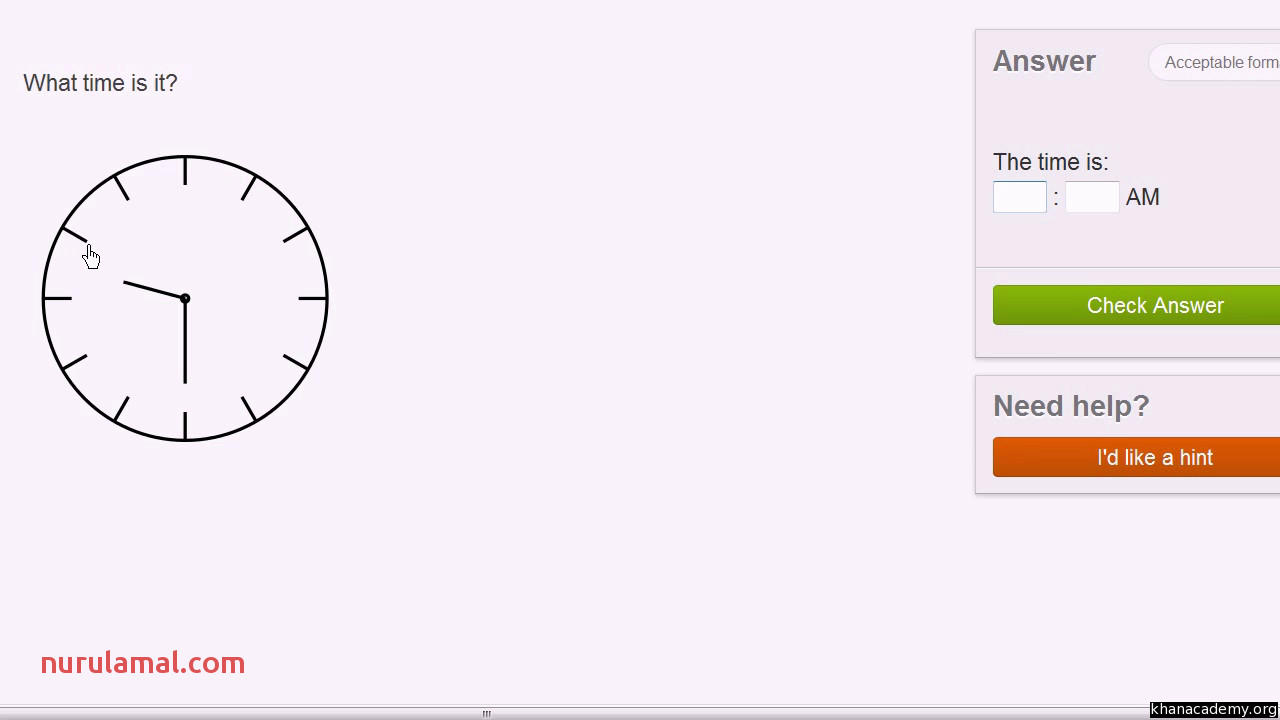Telling Time Unlabeled Clock Video