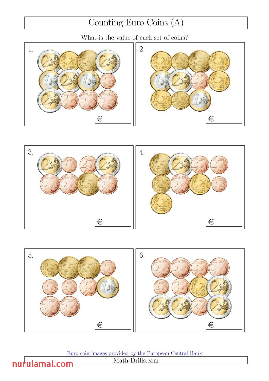The Counting Euro Coins A Math Worksheet From the Money