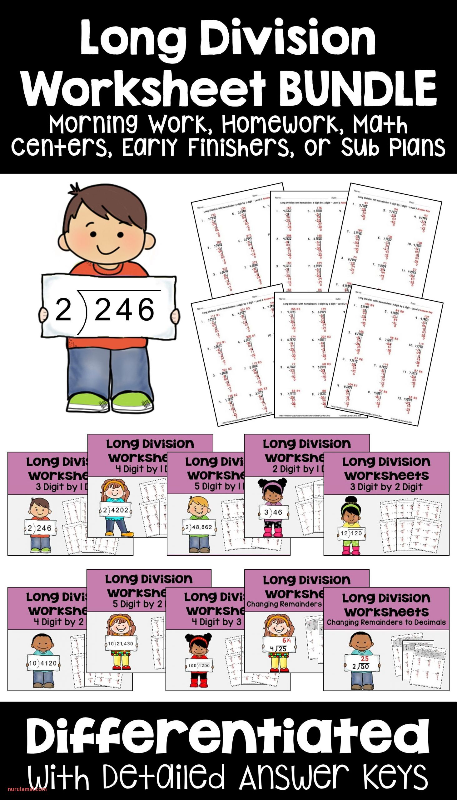 These Long Division Worksheets are Fun Activities for Kids