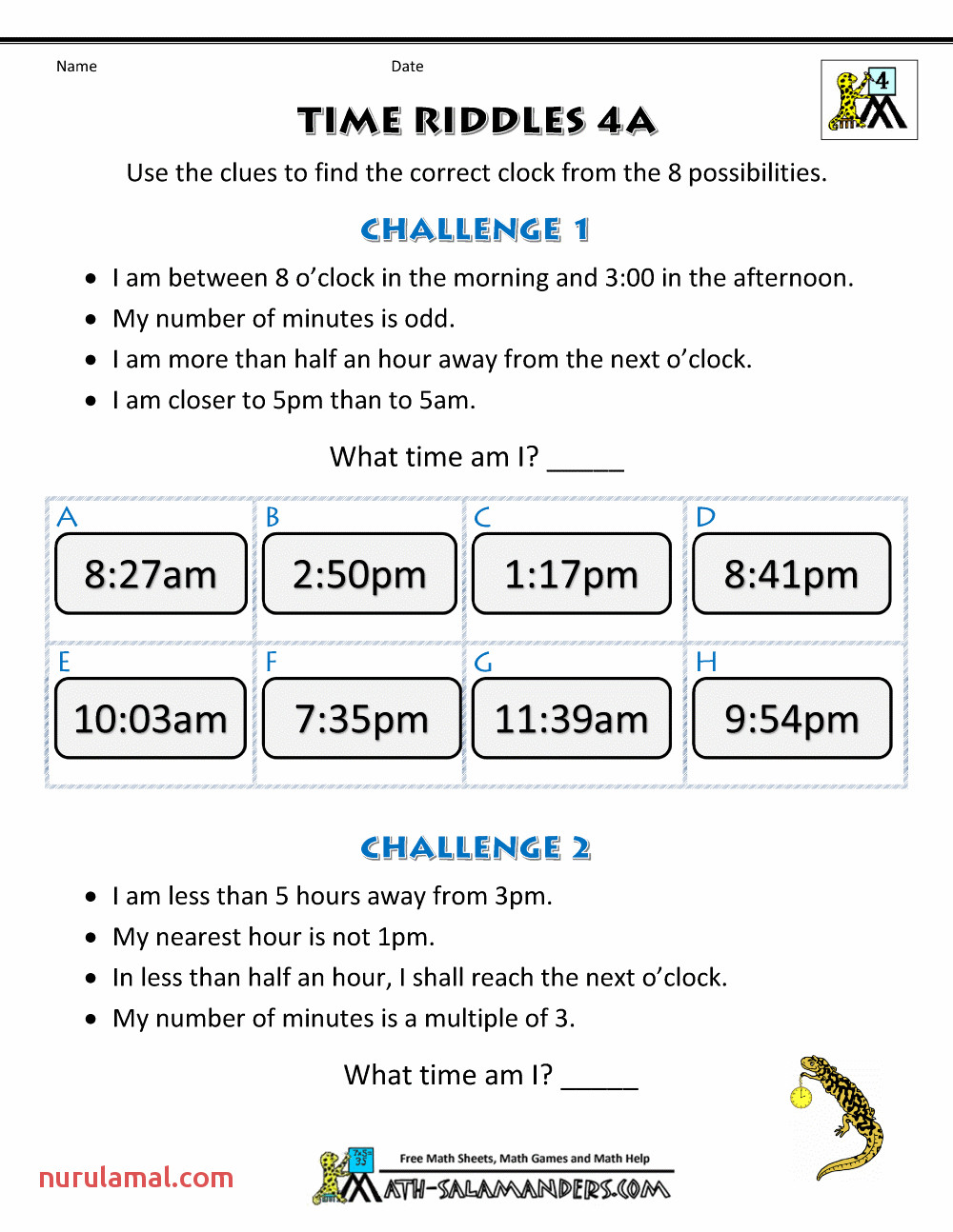 free clock worksheets time riddles 4a