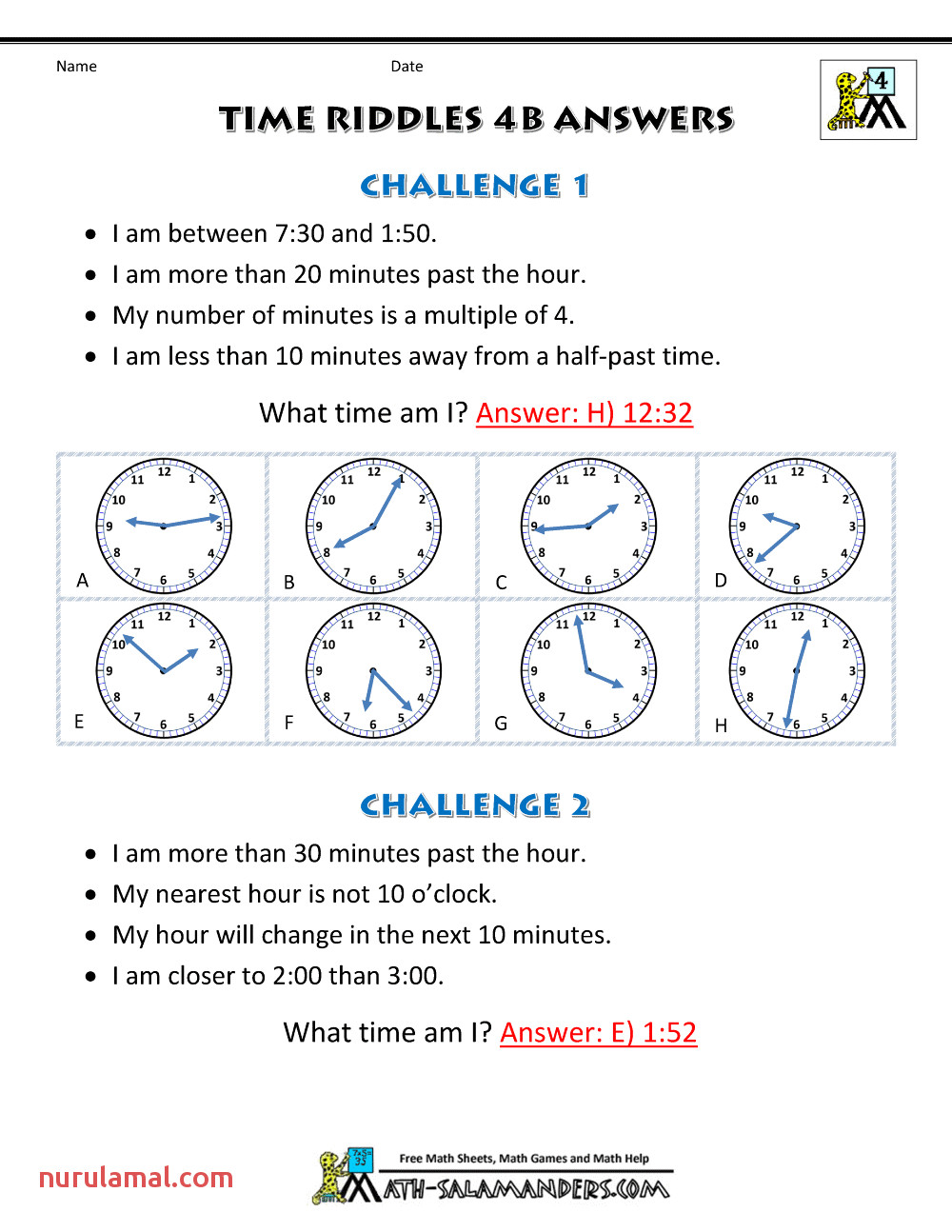 free time worksheets time riddles 4b ans
