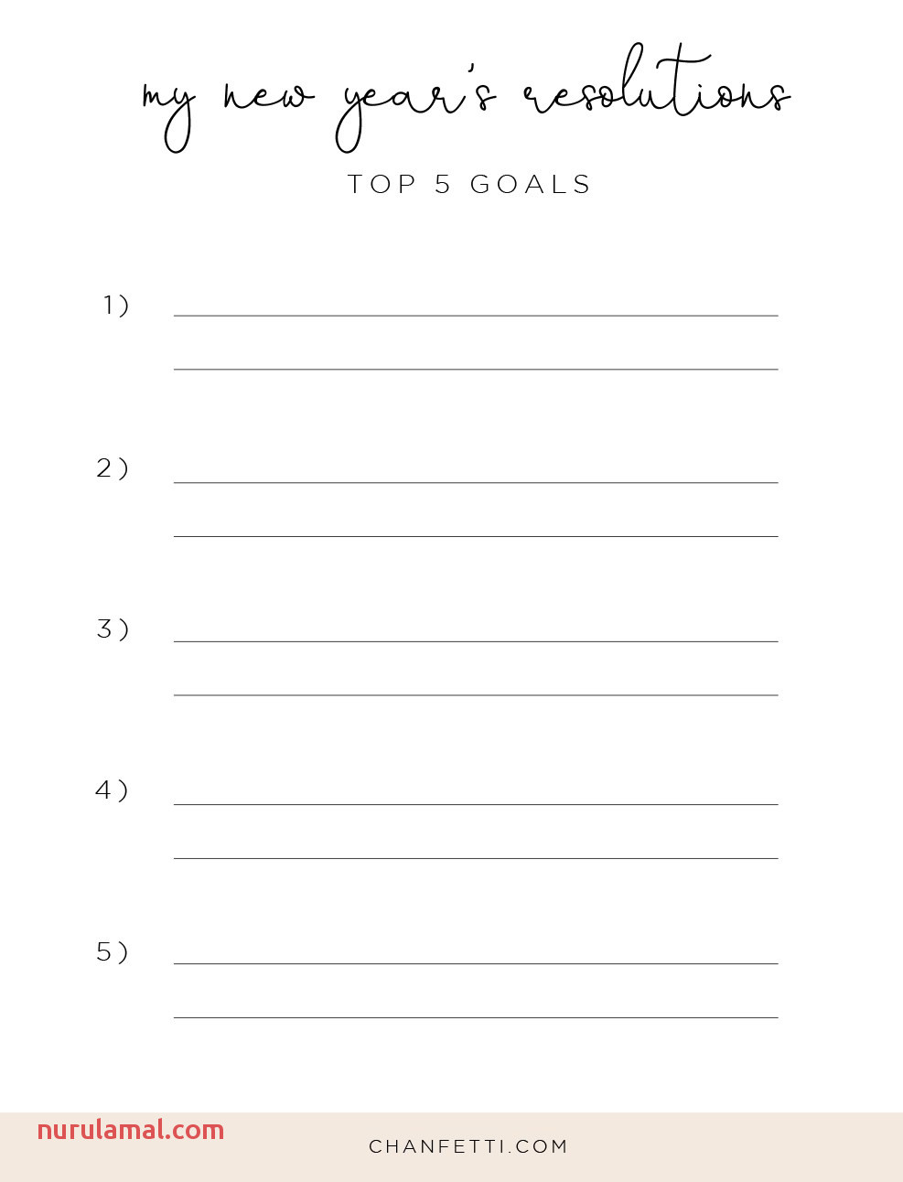 Top New Year Resolution Printable