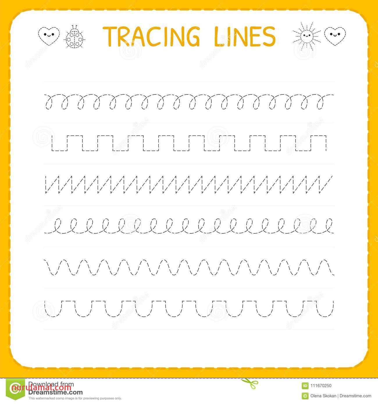 Trace Line Worksheet for Kids Basic Writing Working Pages