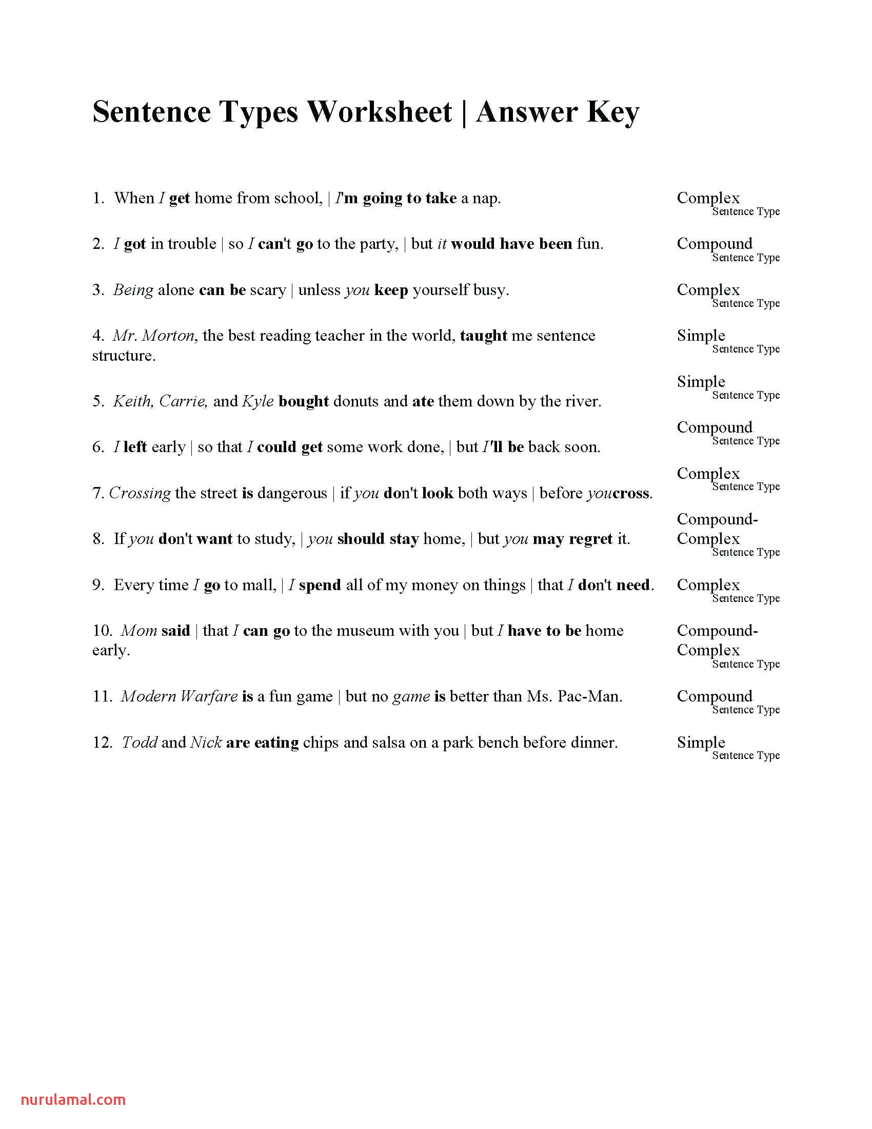 types of sentences worksheets for printable