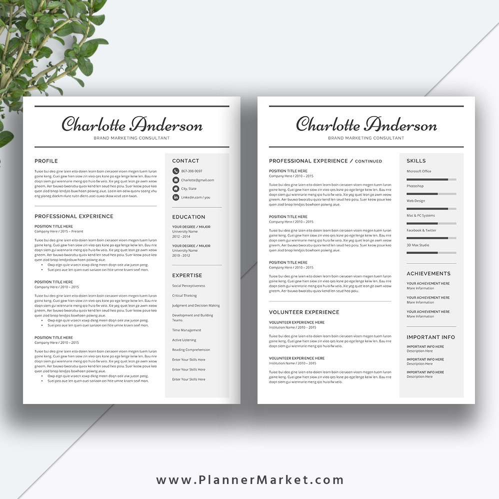 Unique Resume Template Page Cv Template Word