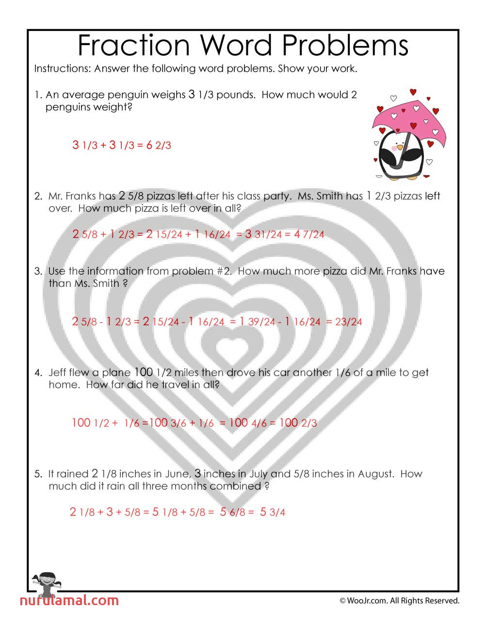 Valentine S Day Math Word Problems with Fractions