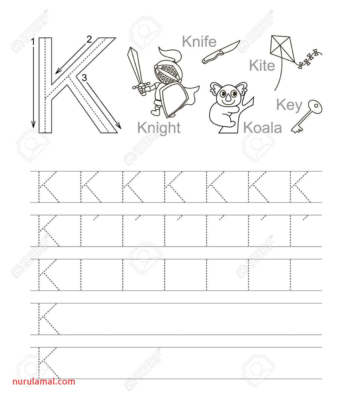 Vector Exercise Illustrated Alphabet Learn Handwriting Tracing