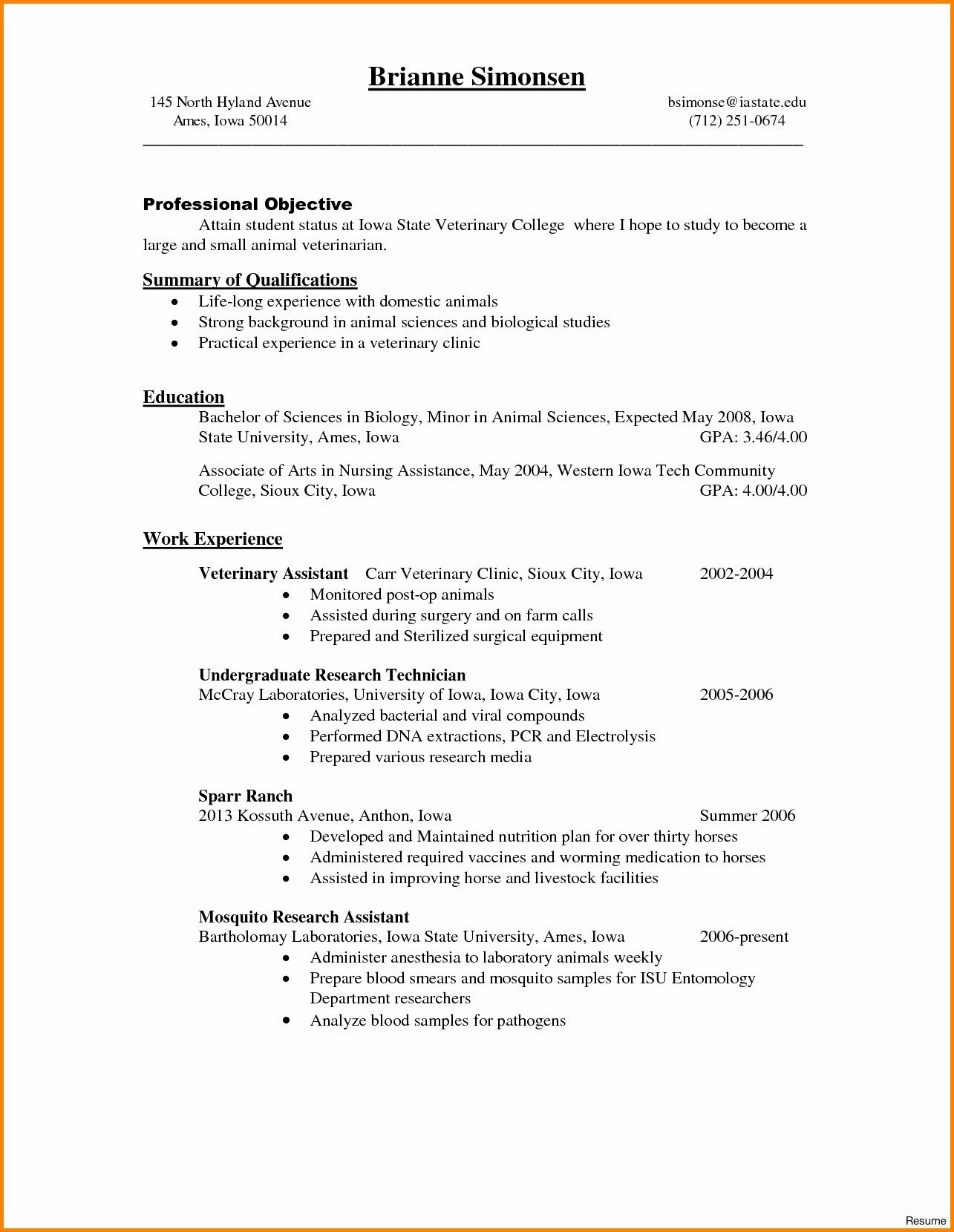 Veterinary Technician Resume Examples Ideasplataforma.com