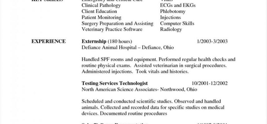 Veterinary Technician Resume Objective Examples Resume