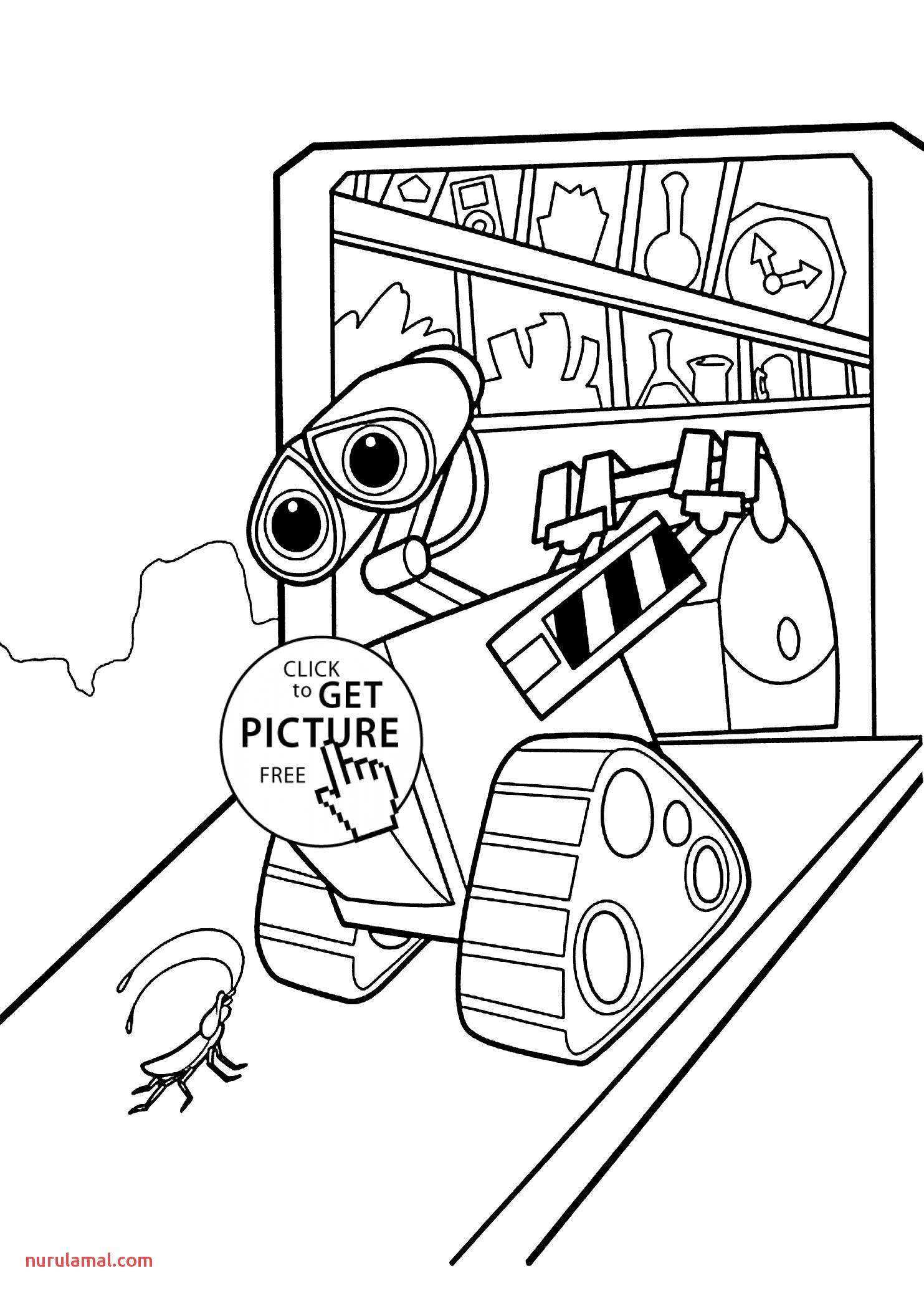 Wall E Home Coloring Pages for Kids Printable Free