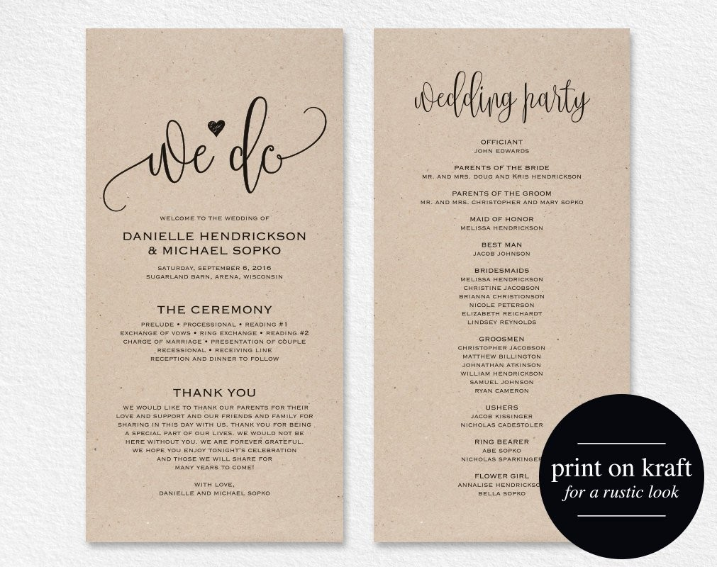 Wedding Program Templates Download