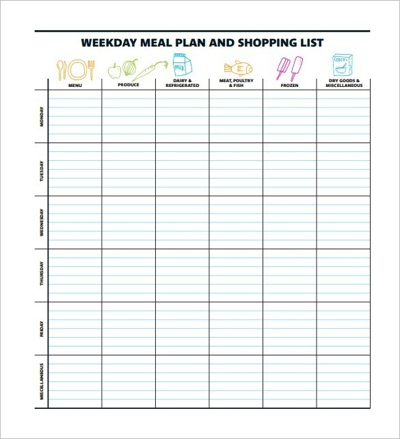 Weight Watchers Meal Planner Template Images Menu
