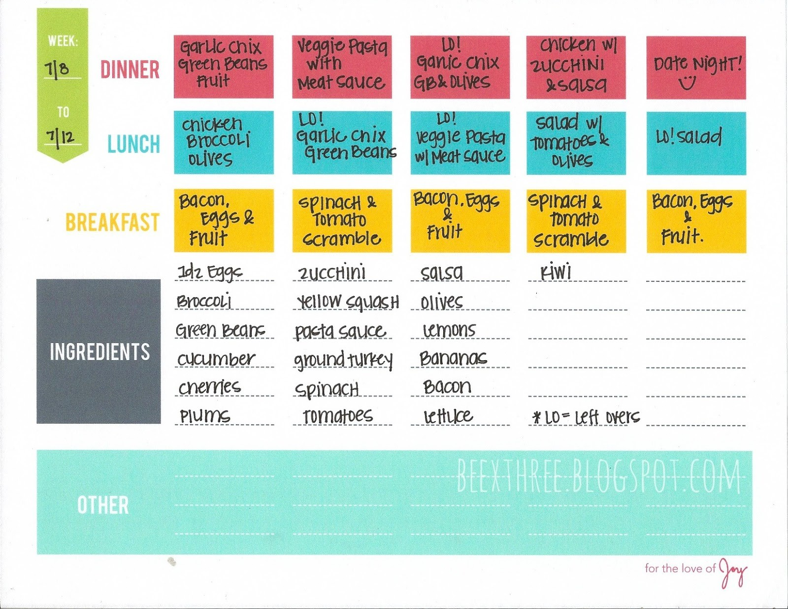 Whole Meal Plan Template Playbestonlinegames