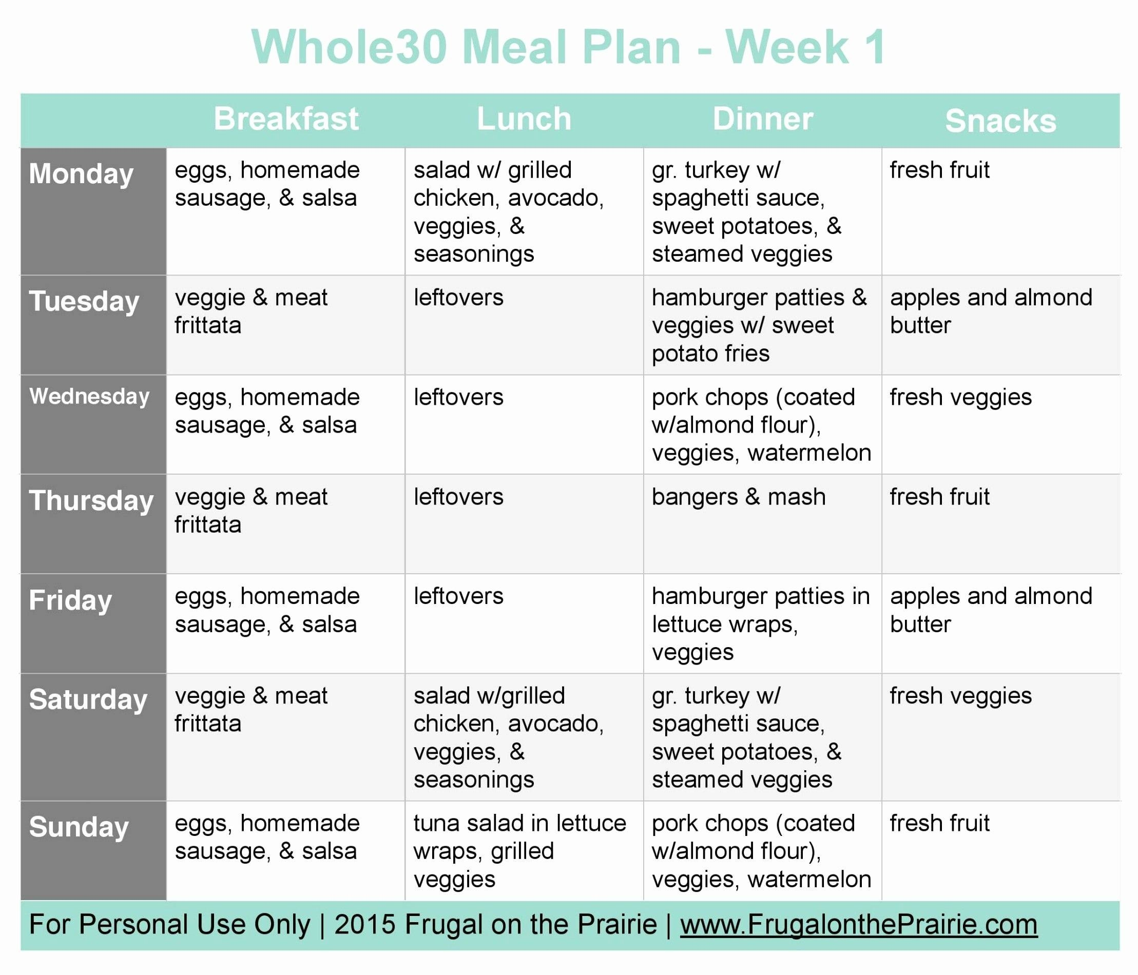Whole Meal Plan Template Printables And Menu