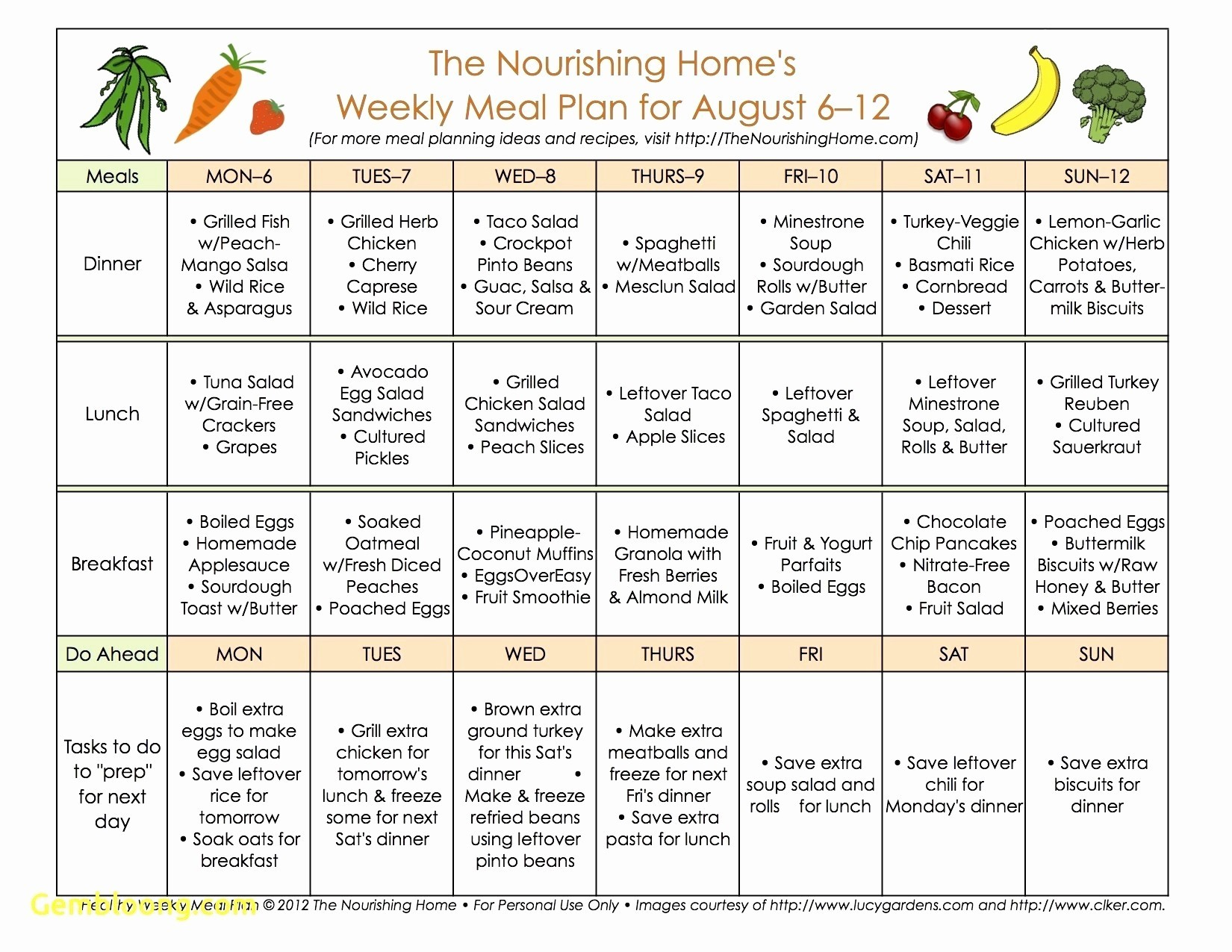 Whole Meal Planning Template Images Free Templates Ideas