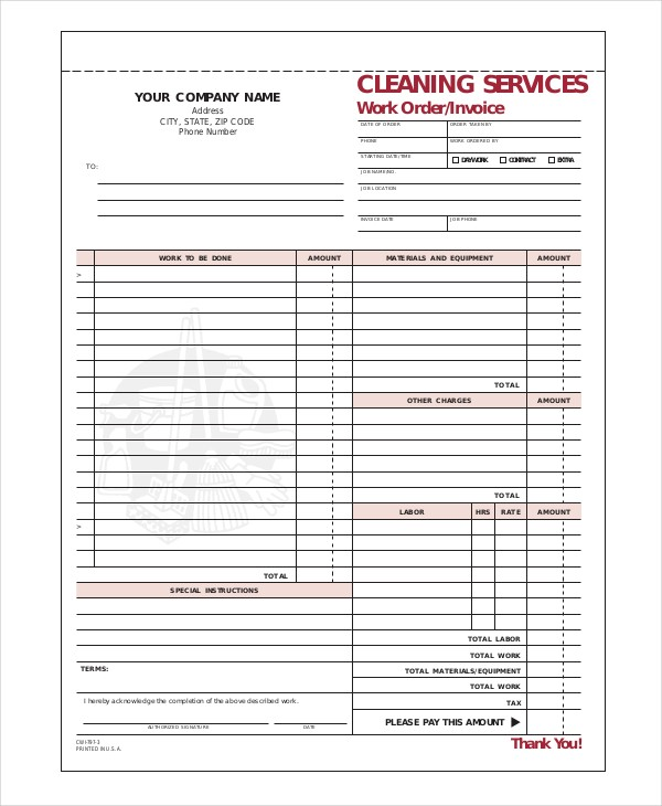 Window Cleaning Invoice Template Cleaning Invoice Template