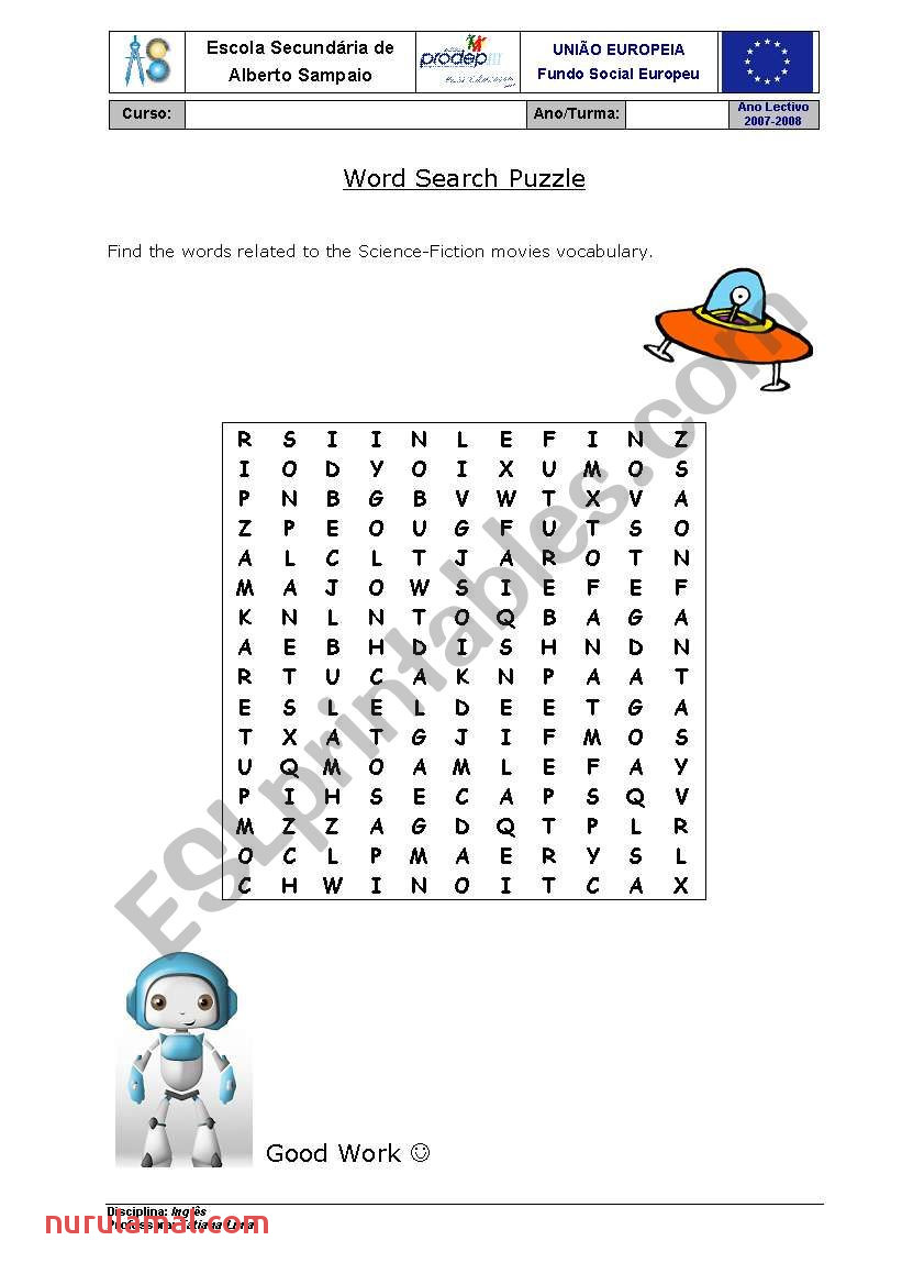 Word Puzzle Science Fiction Esl Worksheet by Trlima