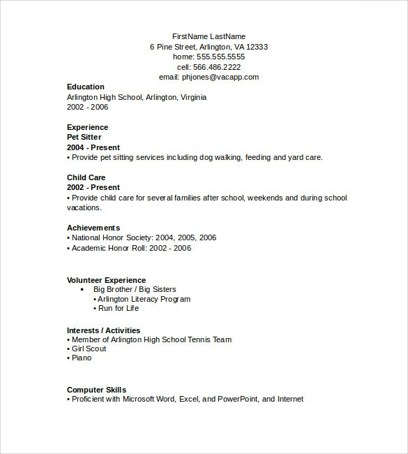 Word Resume Templates Samples Examples Format