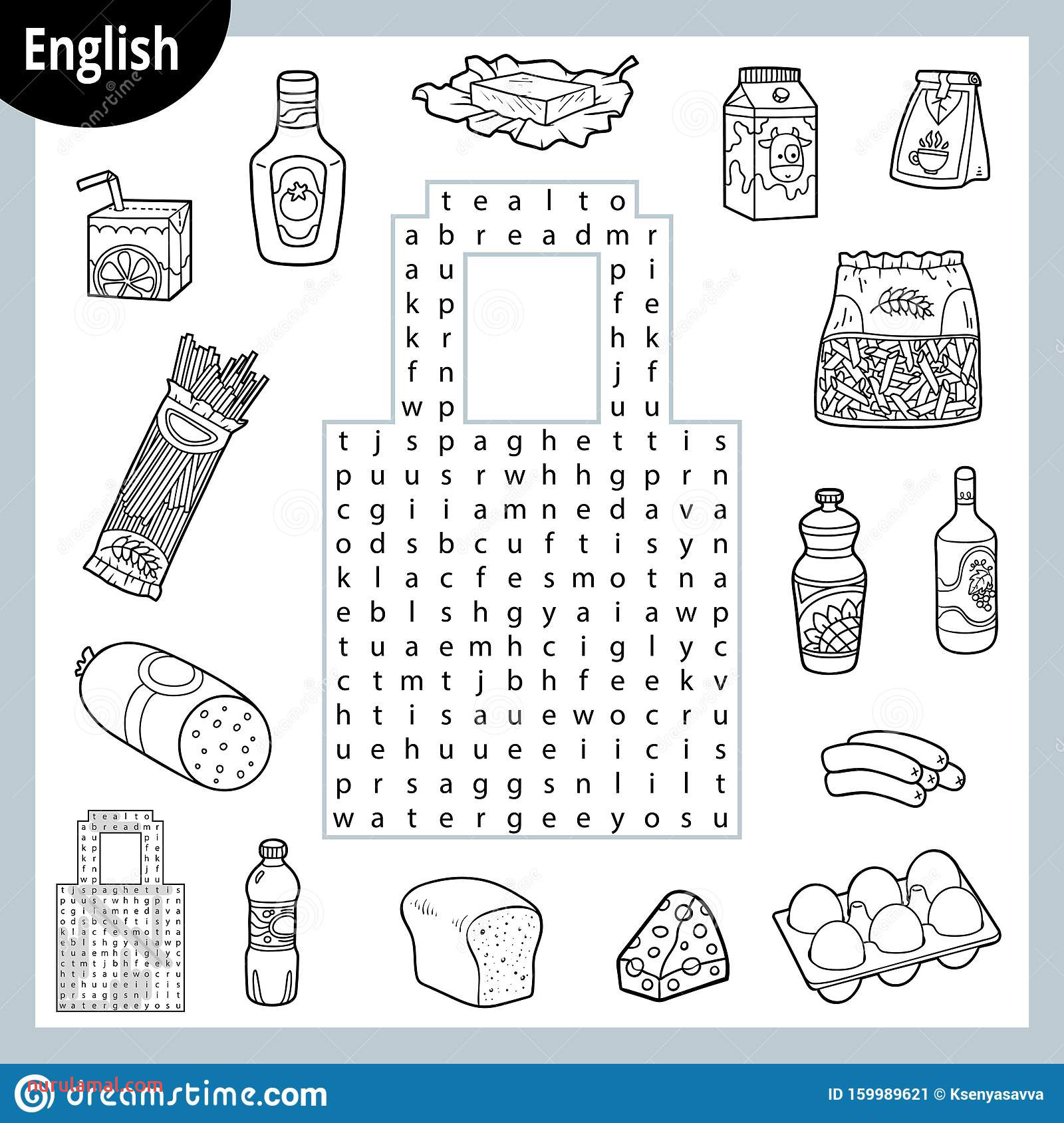 Word Search Puzzle Cartoon Set Food Groceries