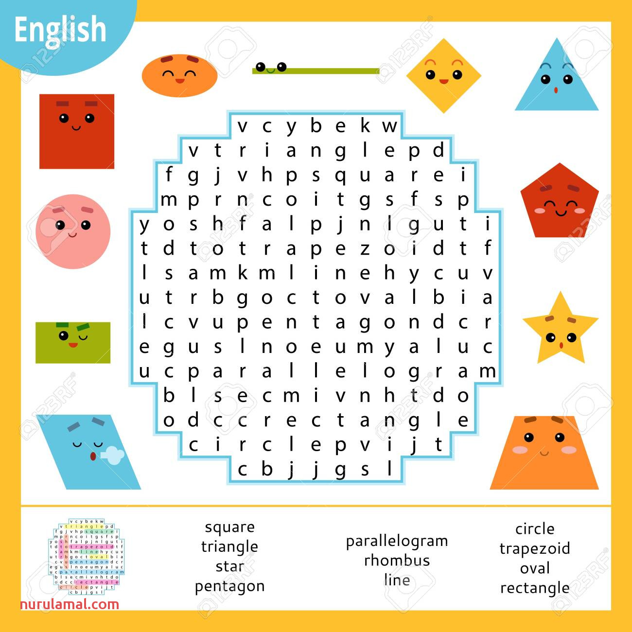 Word Search Puzzle Cartoon Set Of Geometric Shapes Circle