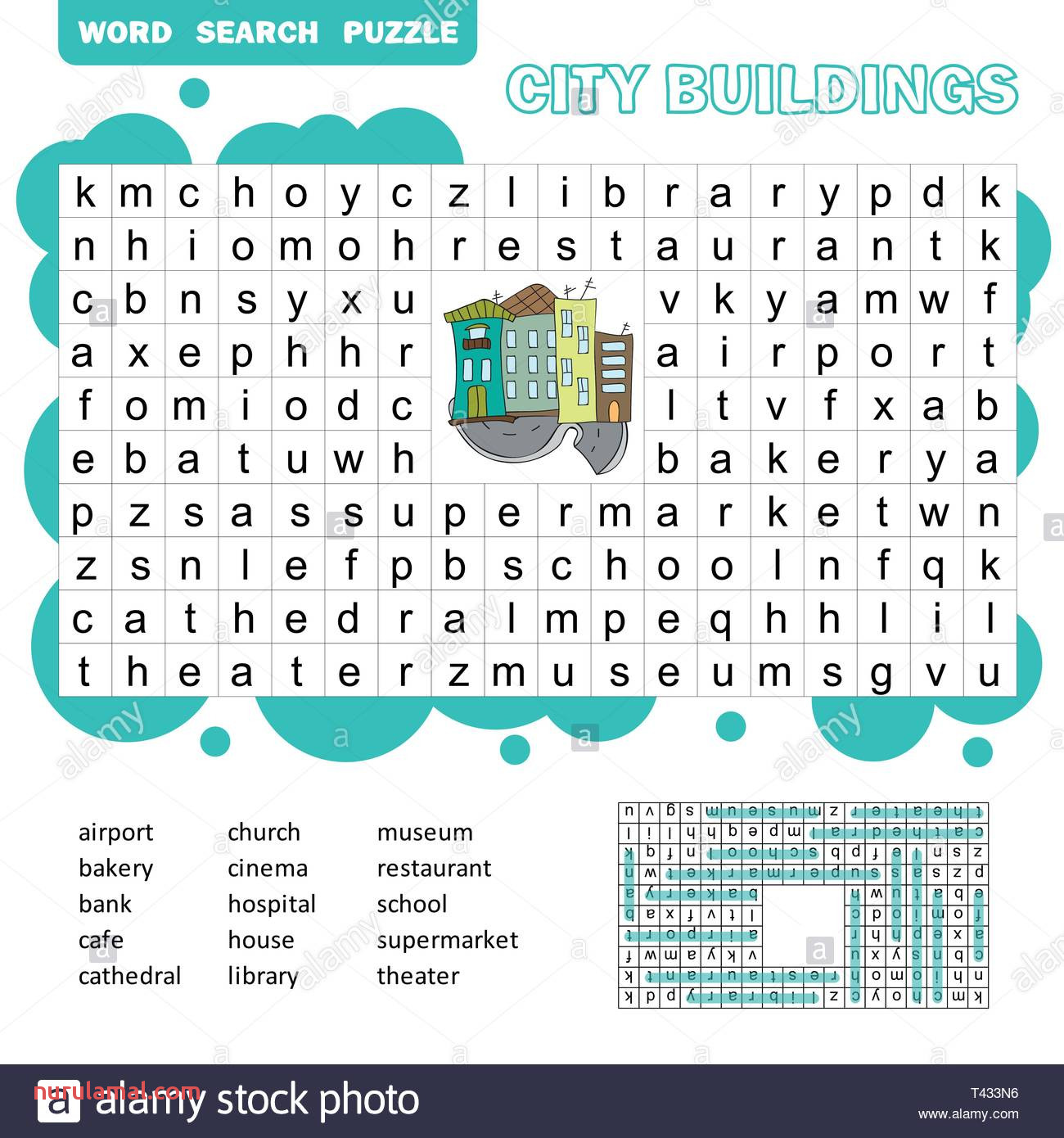 word search puzzle vector game about city buildings worksheet for children colorful printable version with answer T433N6