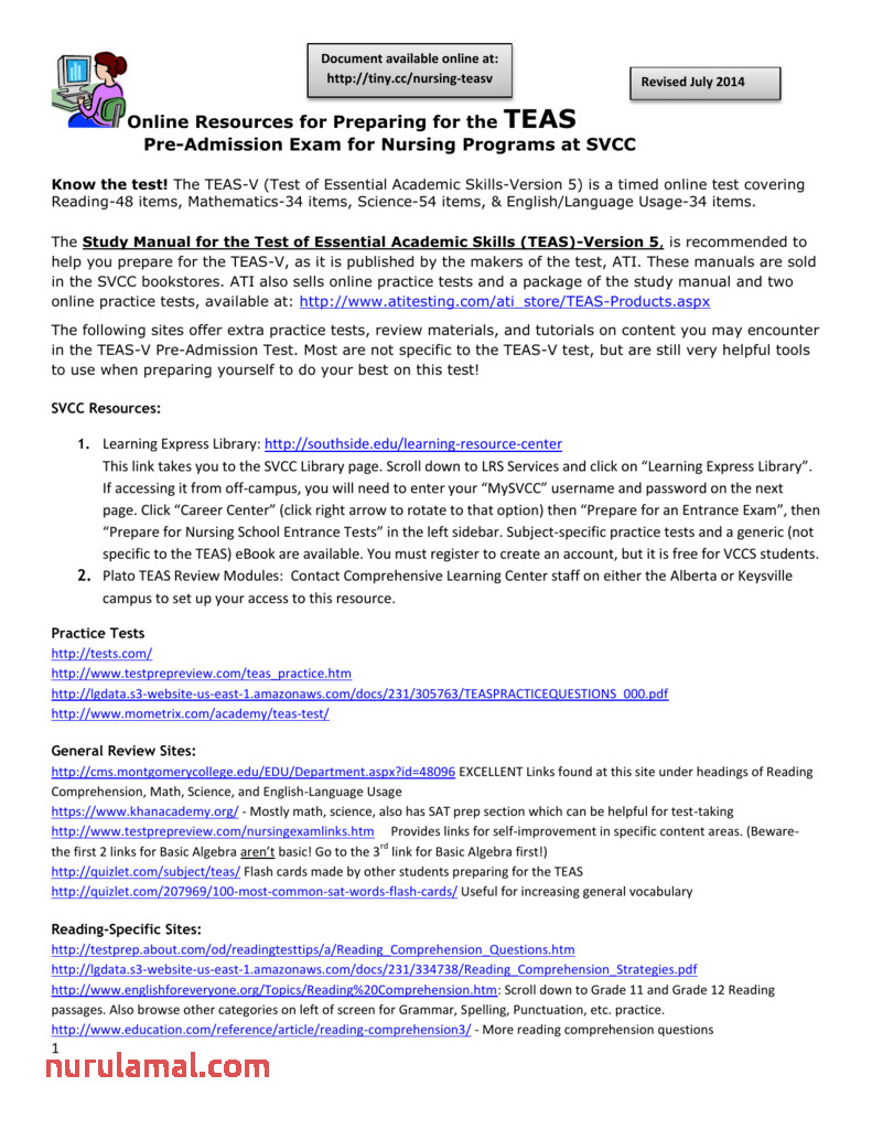 1 online resources for preparing the teas pre reading prehension test worksheet ideas picture