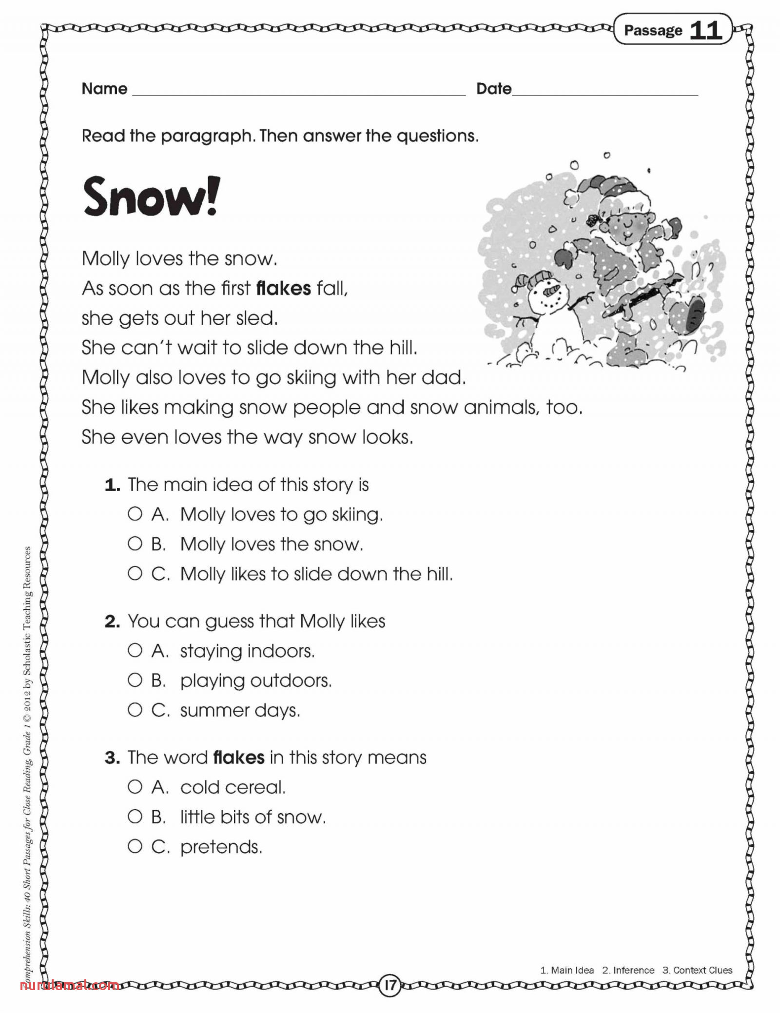 free first grade reading prehension worksheets 3rd multiple choice printable phonics with