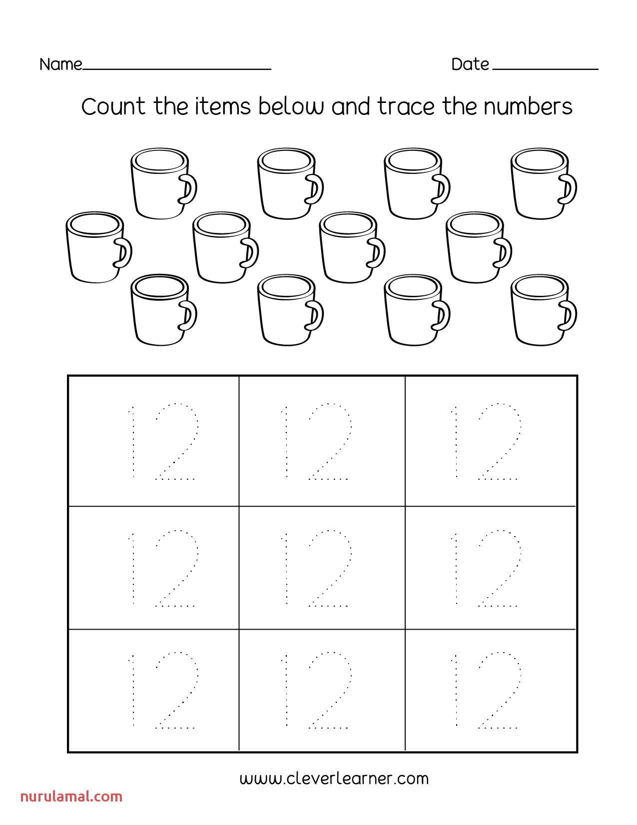 printable kindergarten worksheets number twelve writing counting and identification for preschool children worksheet idease math