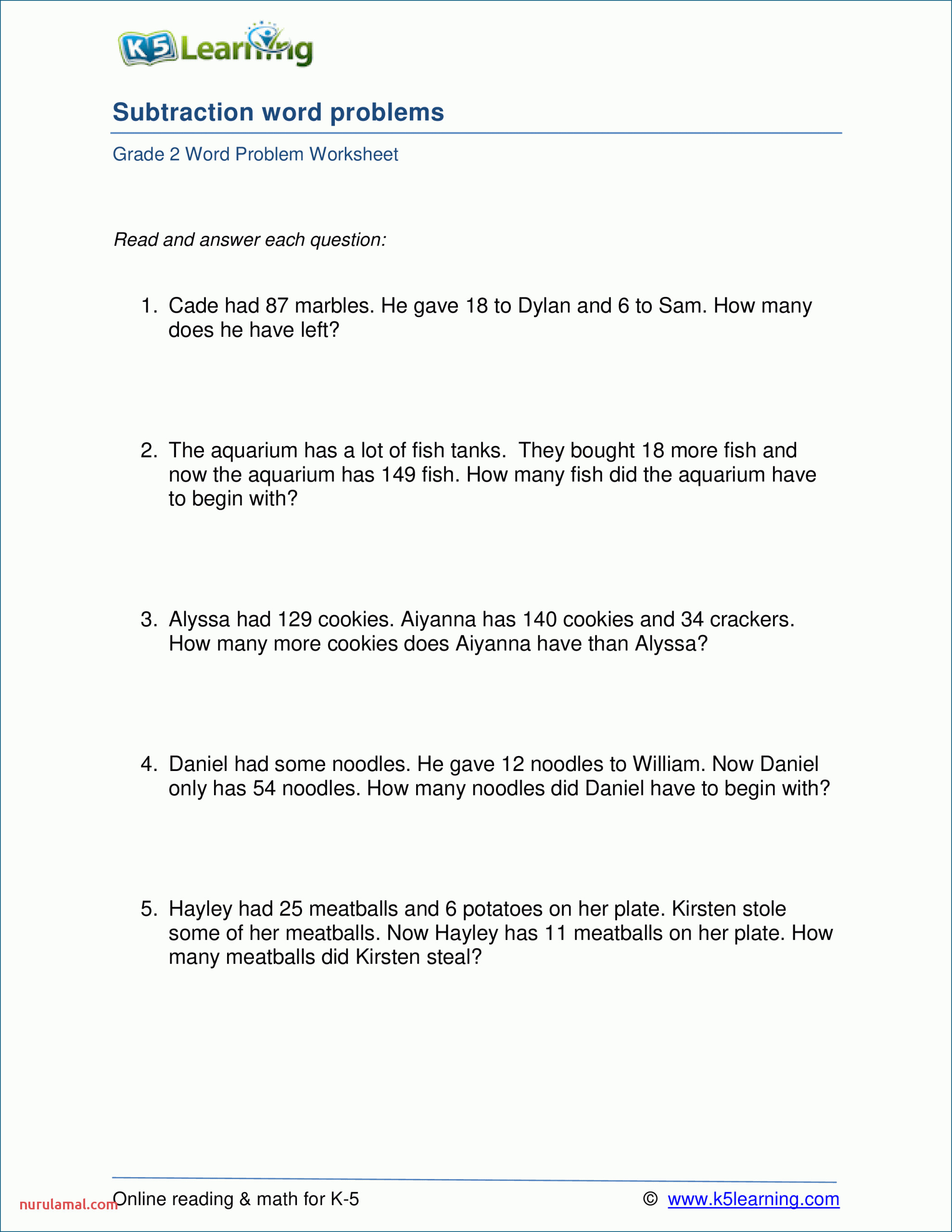 2nd grade math word problem worksheets free and printable doing words for worksheet ideas subtraction problems scaled
