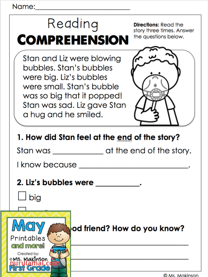 worksheet ideas free first grade reading worksheets to print second prehension pdf 2nd printable