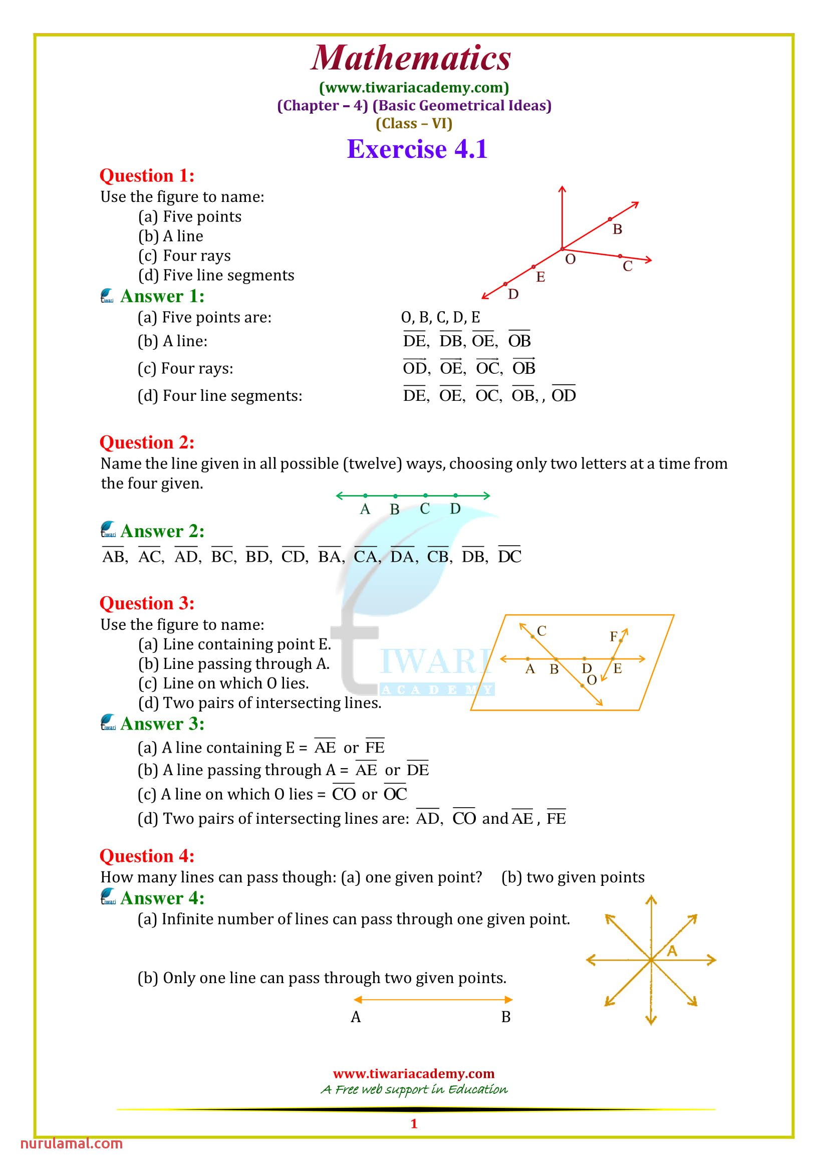 Worksheet Math for Class 6